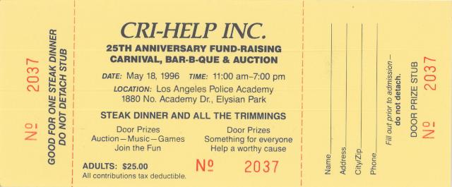 25th Annual Anniversary BBQ ticket circa 1996